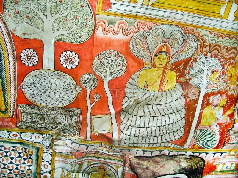 Peintures religieuses à l'intérieur de de roche photos stock