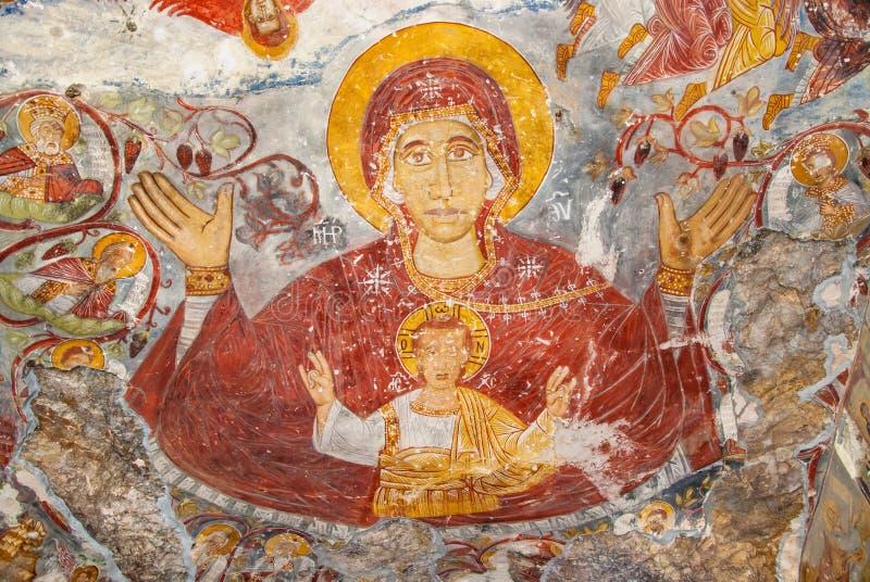 Peintures religieuses dans le monastère de Sumela photos libres de droits