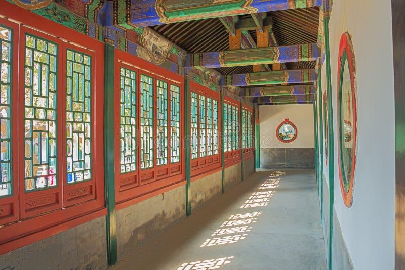 Peintures sur le long couloir dans le palais d'été images libres de droits