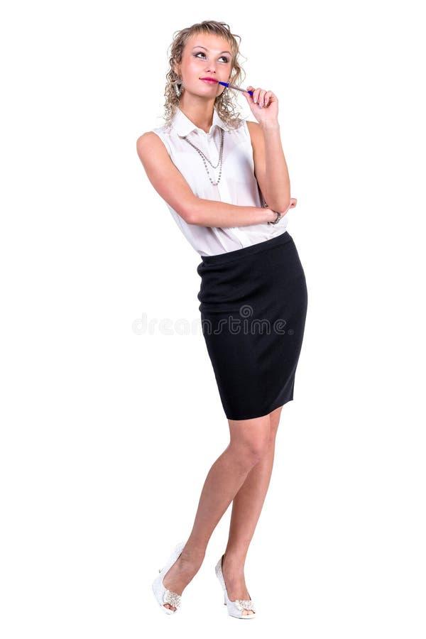 Peinzende bedrijfsvrouw die geïsoleerd, omhoog kijken royalty-vrije stock foto's