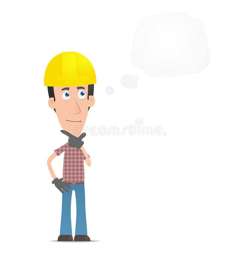 Peinzende bouwer vector illustratie