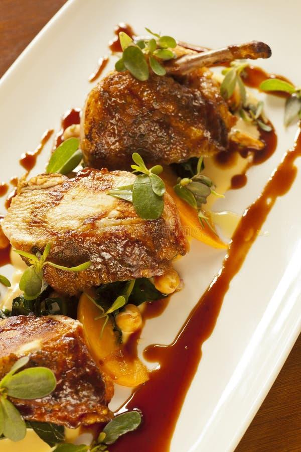 Peito de frango marroquino gourmet do estilo fotos de stock