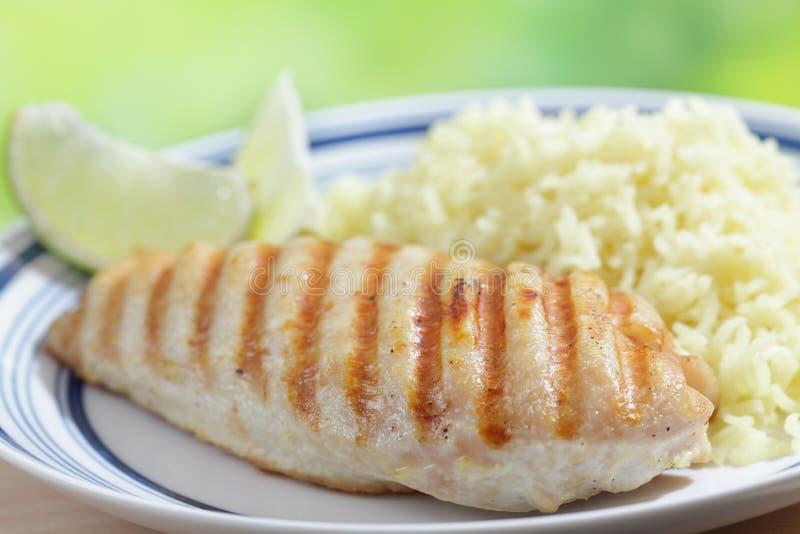 Peito de galinha com arroz fotografia de stock