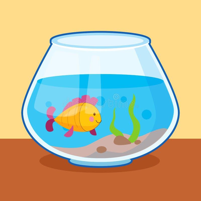 Peixe amarelo no aquário ilustração do vetor