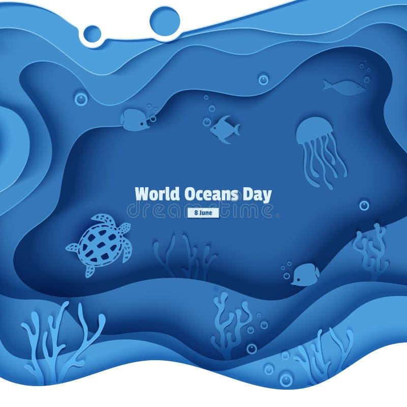 Peixe-borboleta cortado em papel, medusas, marisco, tartaruga Barcos de papel submarinos com peixes, recifes de corais, fundos ma ilustração royalty free