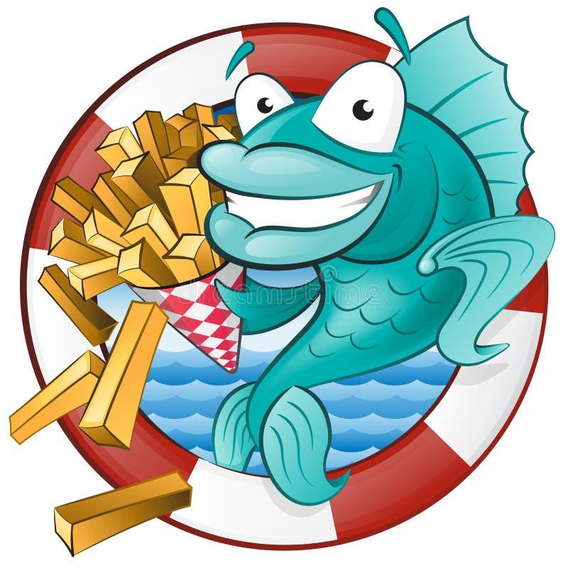 Peixe com batatas fritas dos desenhos animados. ilustração royalty free