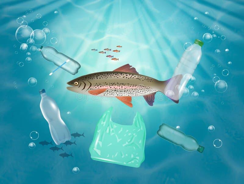 Peixe come plástico no mar ilustração stock