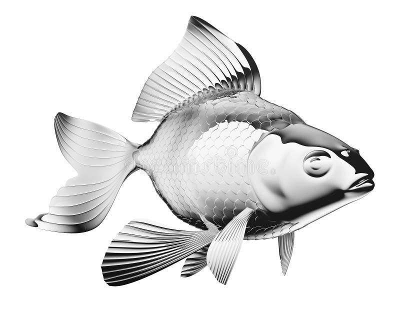 peixe dourado Cromo-chapeado isolado ilustração do vetor