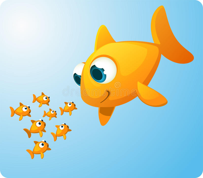 Peixe dourado gigante que olha peixes do bebê ilustração do vetor
