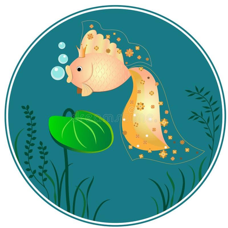 Peixe dourado no fundo azul foto de stock royalty free