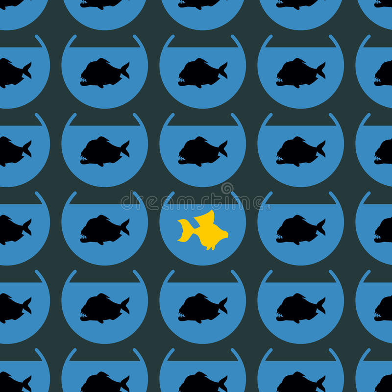 Peixe dourado no teste padrão sem emenda da piranha do rebanho Não como outro diff ilustração stock