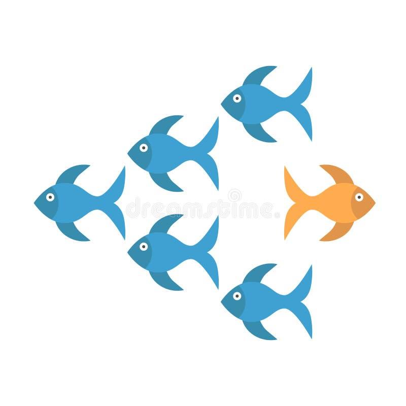 Peixe dourado que toma a maneira diferente ilustração stock