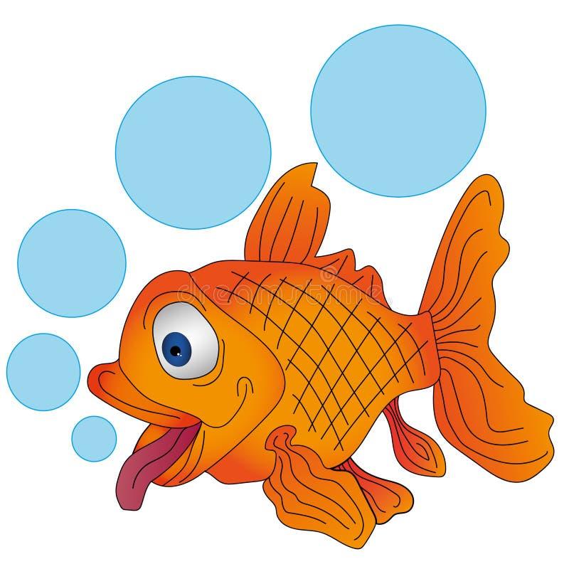 Peixes alaranjados do vetor com bolhas ilustração royalty free