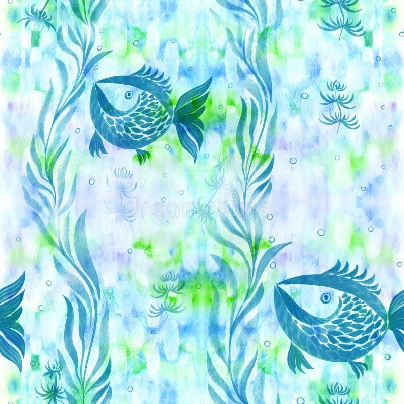 Peixes, algas, vesículas - composição decorativa watercolor Teste padrão sem emenda Use materiais impressos, sinais, artigos, Web ilustração royalty free