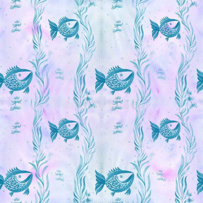 Peixes, algas, vesículas - composição decorativa watercolor Teste padrão sem emenda Use materiais impressos, sinais, artigos, Web ilustração stock