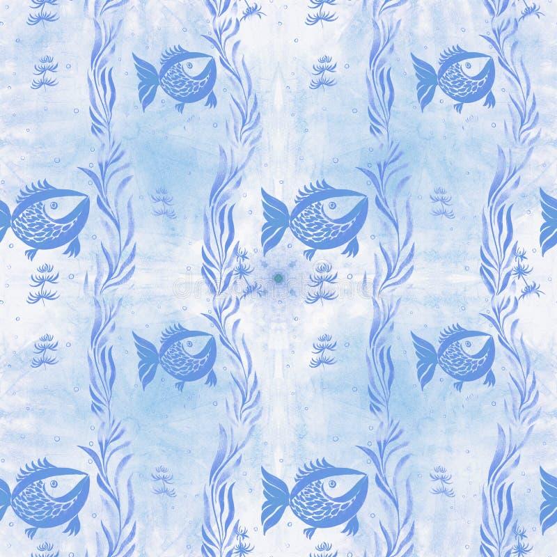 Peixes, algas, vesículas - composição decorativa watercolor Teste padrão sem emenda Use materiais impressos, sinais, artigos, Web ilustração do vetor