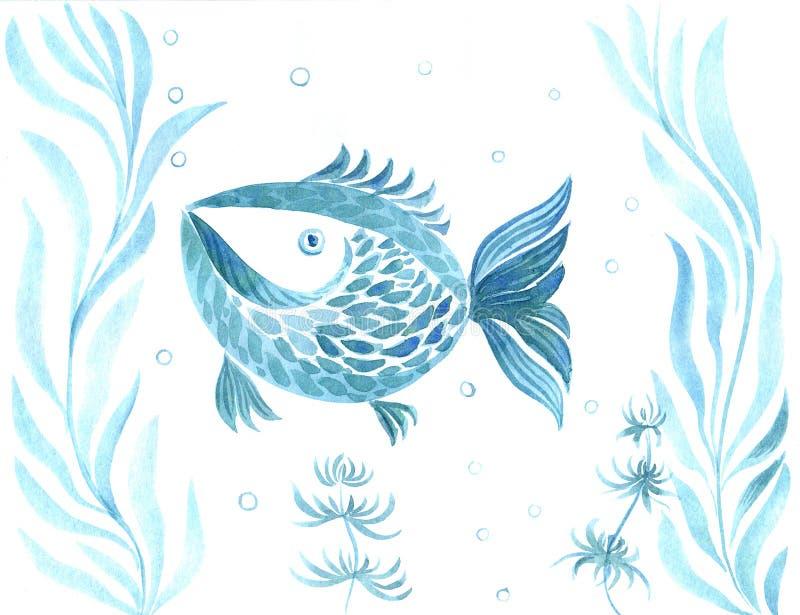 Peixes, algas, vesículas - composição decorativa watercolor Use materiais impressos, sinais, artigos, Web site, mapas, ilustração stock