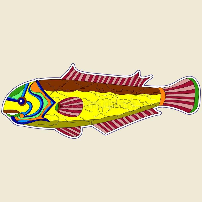 Peixes amarelos do monstro com as aletas traseiras e vermelhas marrons ilustração royalty free