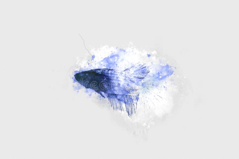Peixes azuis abstratos no oceano no fundo causando dor da aquarela ilustração royalty free