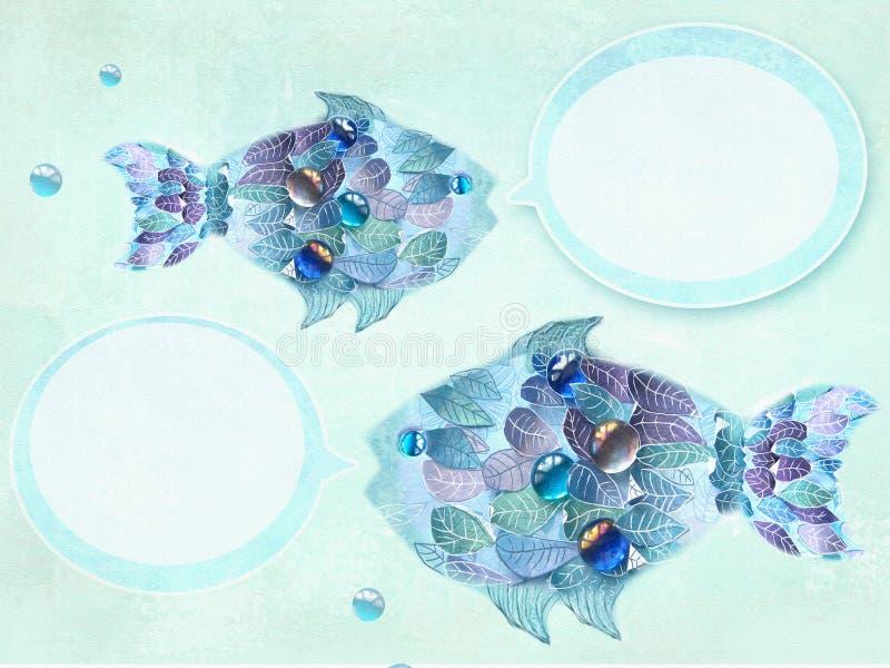 Peixes azuis da arte com as escalas como folhas Ilustração desenhada mão Peixes florais com bolhas do discurso Projeto creativo ilustração stock