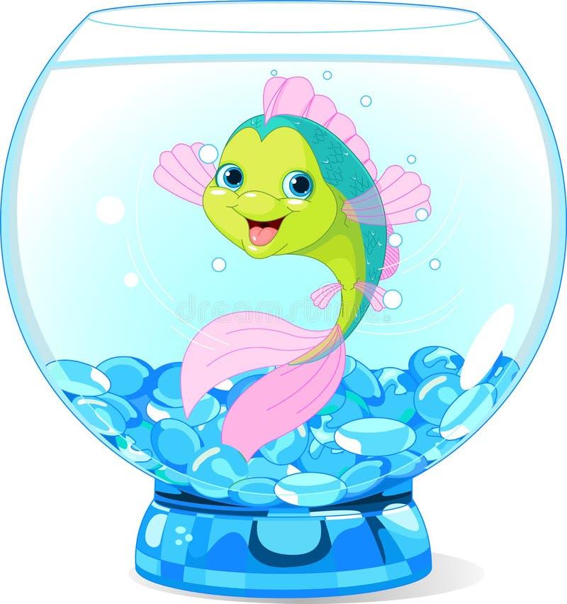 Peixes bonitos dos desenhos animados no aquário ilustração royalty free