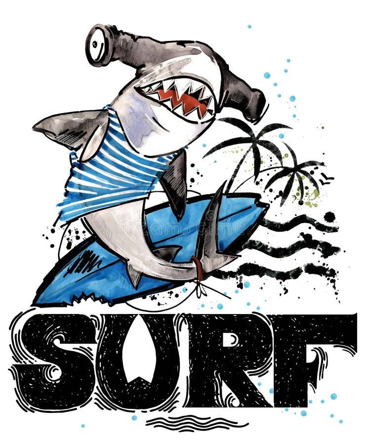 Peixes bonitos dos desenhos animados Texto tirado mão do vintage da ressaca ilustração da aquarela do animal de mar fundo das fér ilustração do vetor