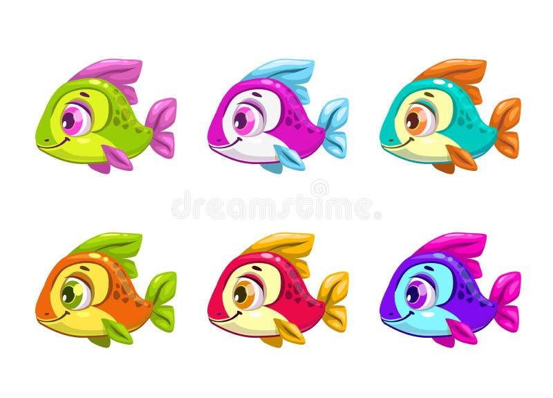 5 Peixes Coloridos Dos Desenhos Animados No Fundo Branco