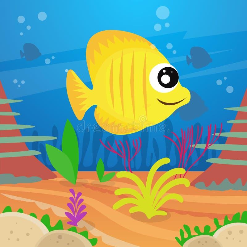 Peixes coloridos dos desenhos animados amarelos sob águas profundas ilustração stock