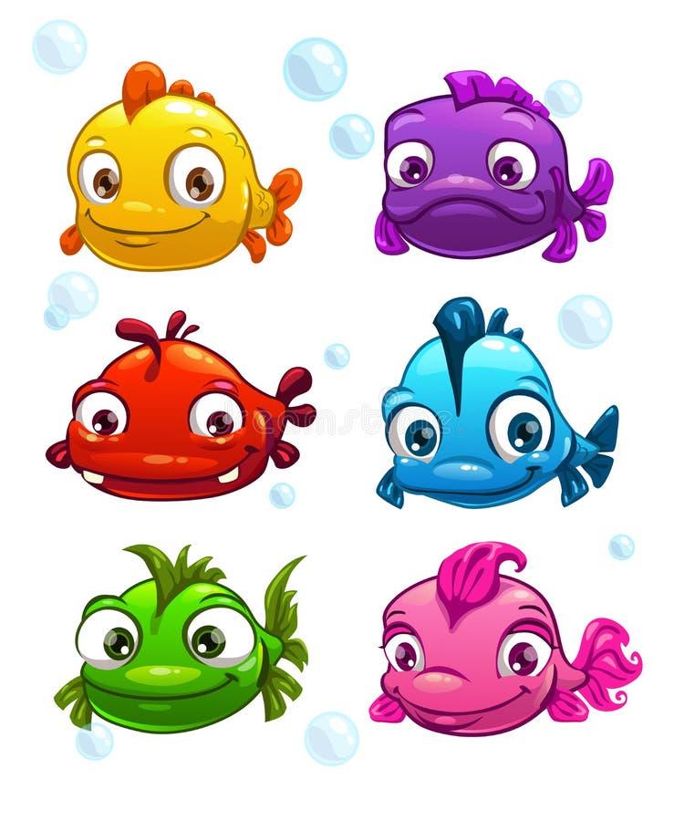 Peixes coloridos dos desenhos animados engraçados ajustados ilustração royalty free