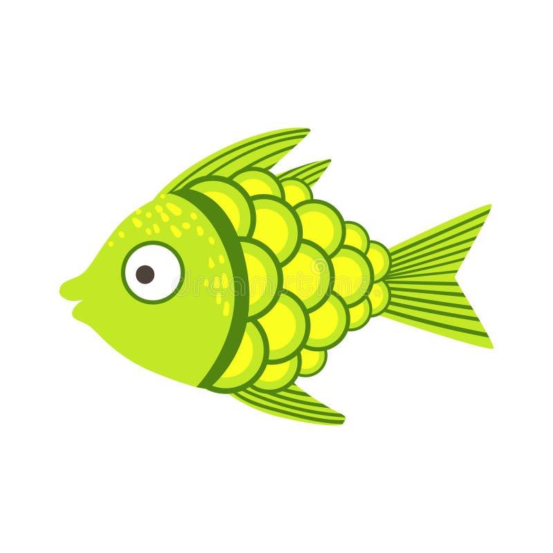 Peixes coloridos fantásticos verdes e amarelos do aquário, animal aquático do recife tropical ilustração stock