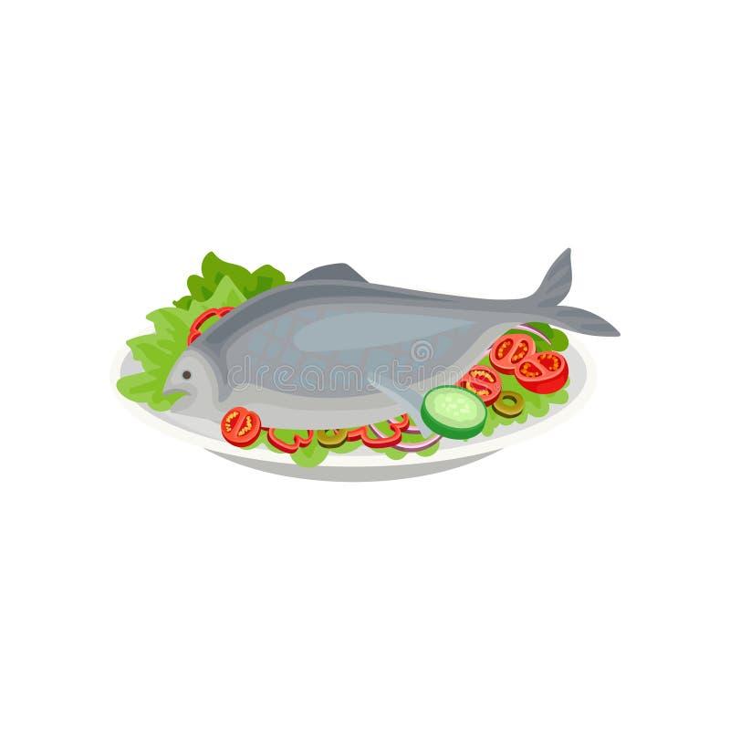 Peixes cozinhados com vegetais crus Nutrição saudável Prato delicioso para o jantar Tema do marisco Vetor liso para o menu ou ilustração stock