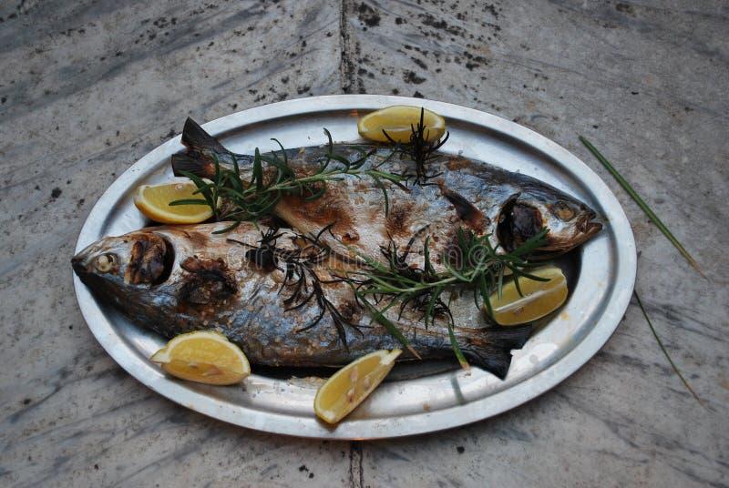 Peixes cozinhados em uma bandeja fotografia de stock royalty free