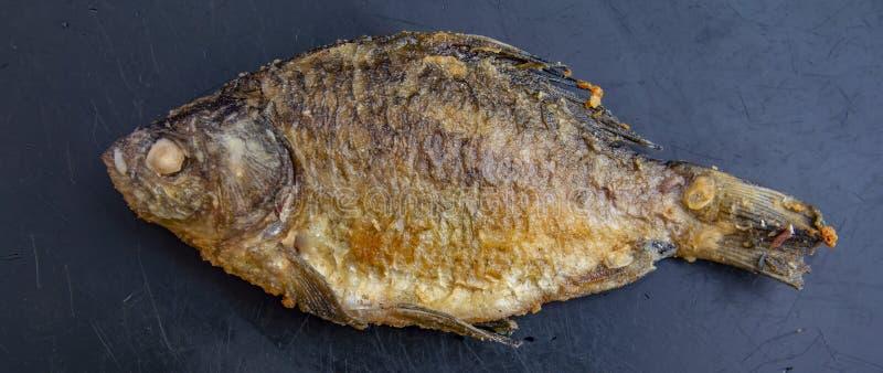 Peixes crucian fritados em um fundo preto imagens de stock