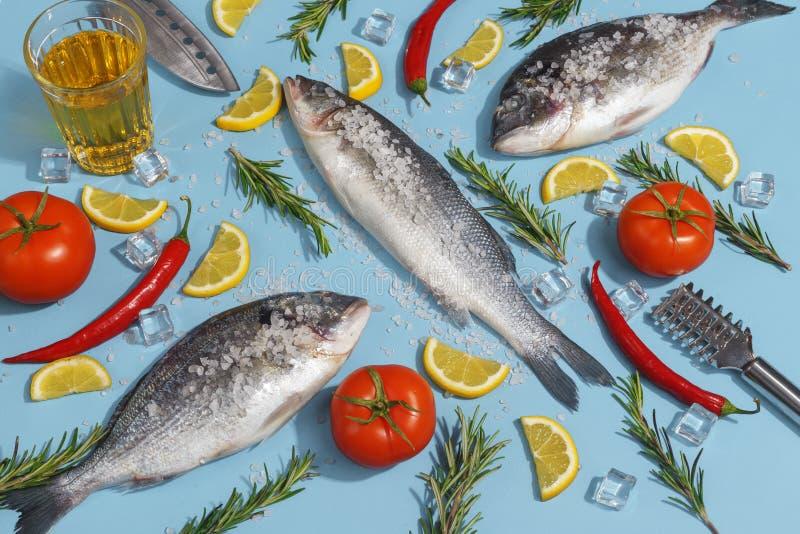 Peixes crus do dorada com especiarias, sal, limão e ervas, alecrins em um fundo ligth-azul Vista superior imagem de stock