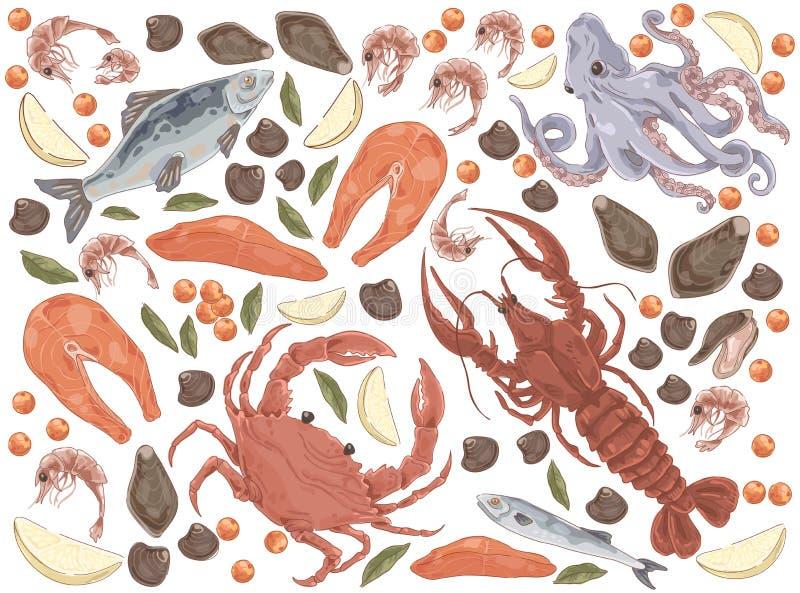 Peixes crus, faixa dos salmões, polvo, mexilhões, jantar gourmet, lagosta, caranguejo, camarões, partes do limão, grupo delicioso ilustração royalty free