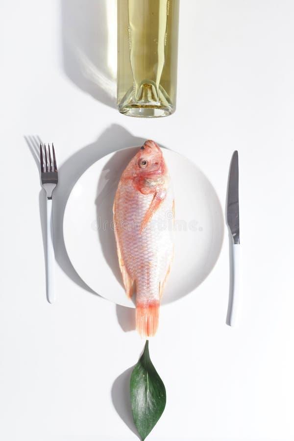 Peixes crus frescos em uma placa Tabele o ajuste Conceito creativo imagem de stock