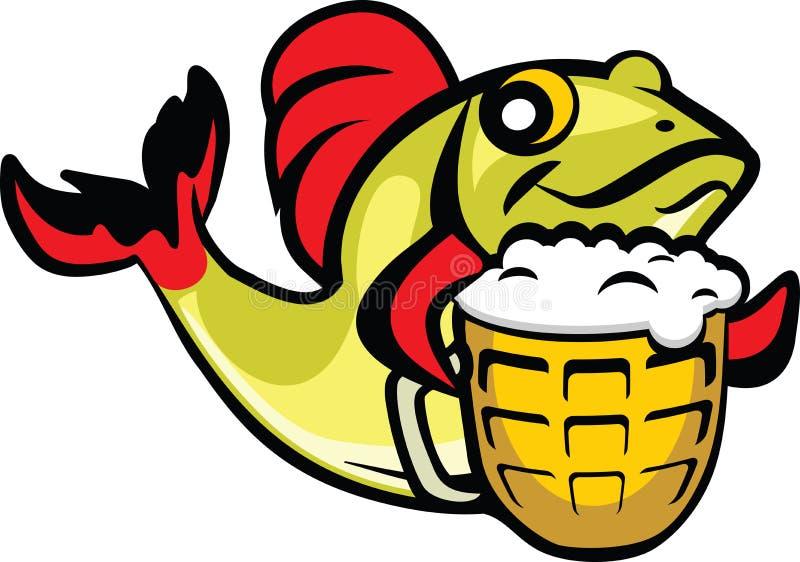 Peixes da cerveja ilustração do vetor