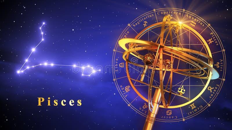 Peixes da esfera Armillary e da constelação sobre o fundo azul ilustração do vetor
