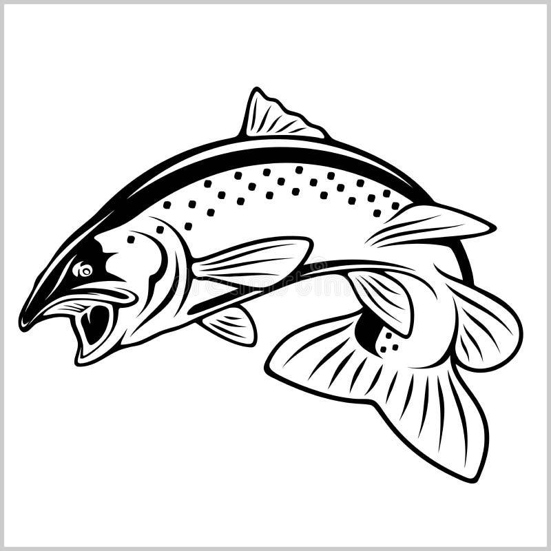 Peixes da truta - ilustra??o do logotipo Emblema da pesca ilustração stock