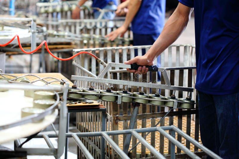 Peixes de atum no processamento de lata no manufactory imagem de stock