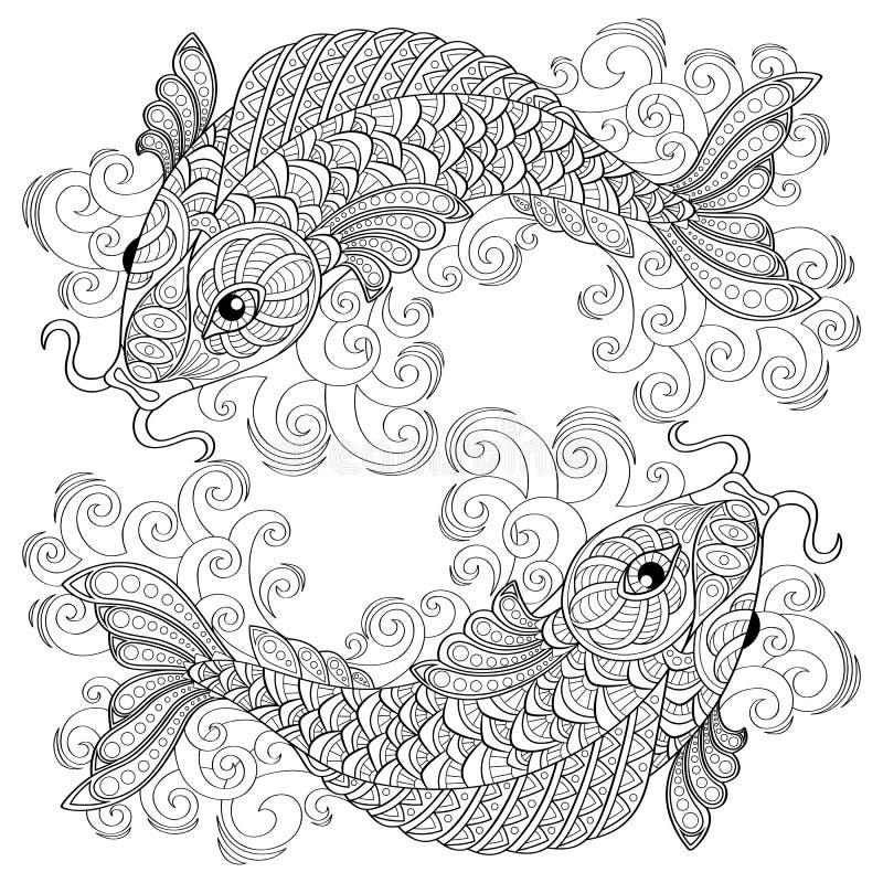 Peixes de Koi Carpas chinesas pisces Página antistress adulta da coloração ilustração stock