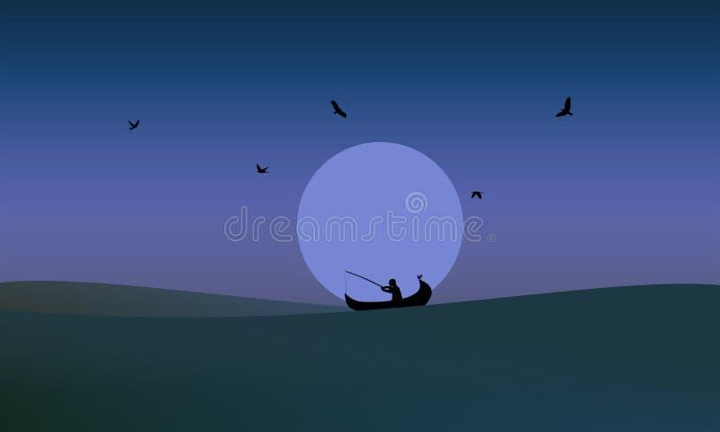Peixes de travamento do homem de Fisher na noite meados de ilustração stock