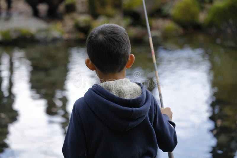 Peixes de travamento do menino japon?s fotos de stock