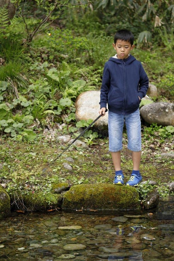 Peixes de travamento do menino japon?s imagem de stock