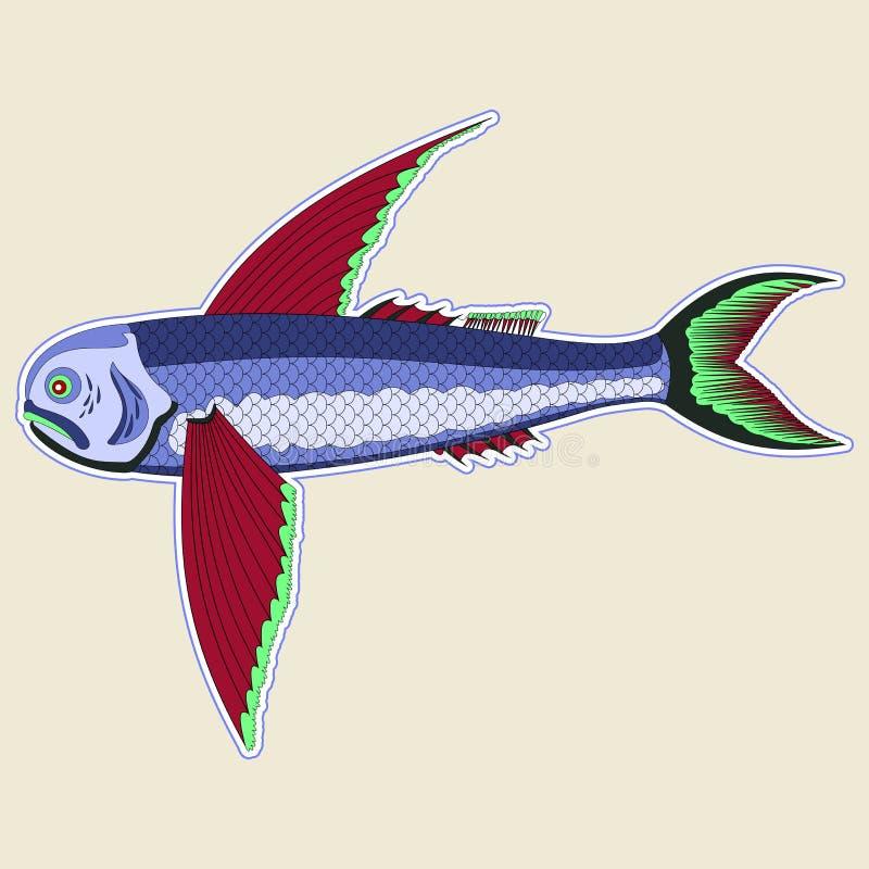 Peixes de voo do monstro com as grandes aletas vermelhas ilustração do vetor