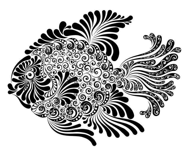 Peixes decorativos com aletas luxúrias ilustração do vetor