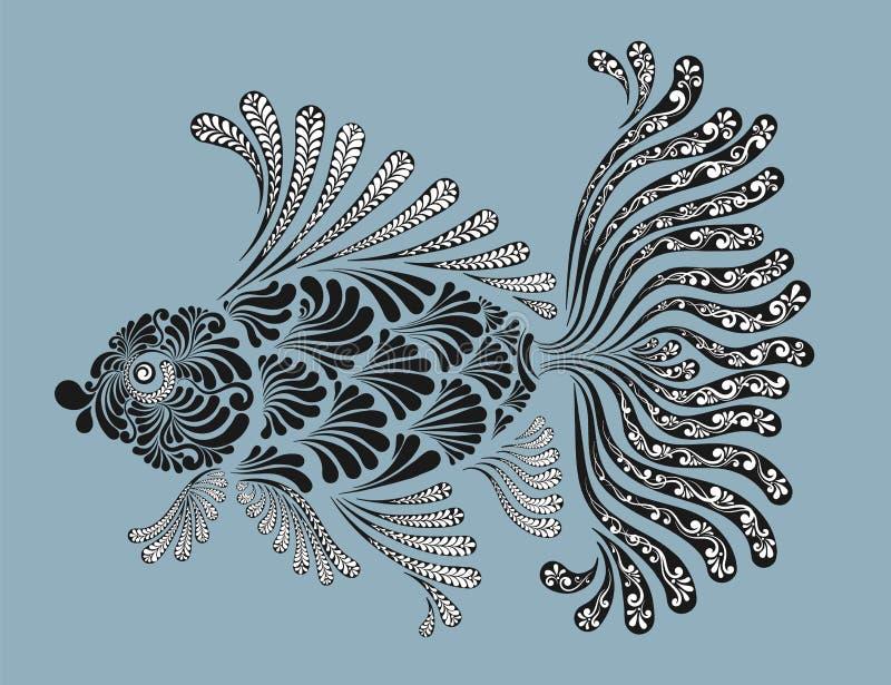 Peixes decorativos com aletas luxúrias ilustração royalty free