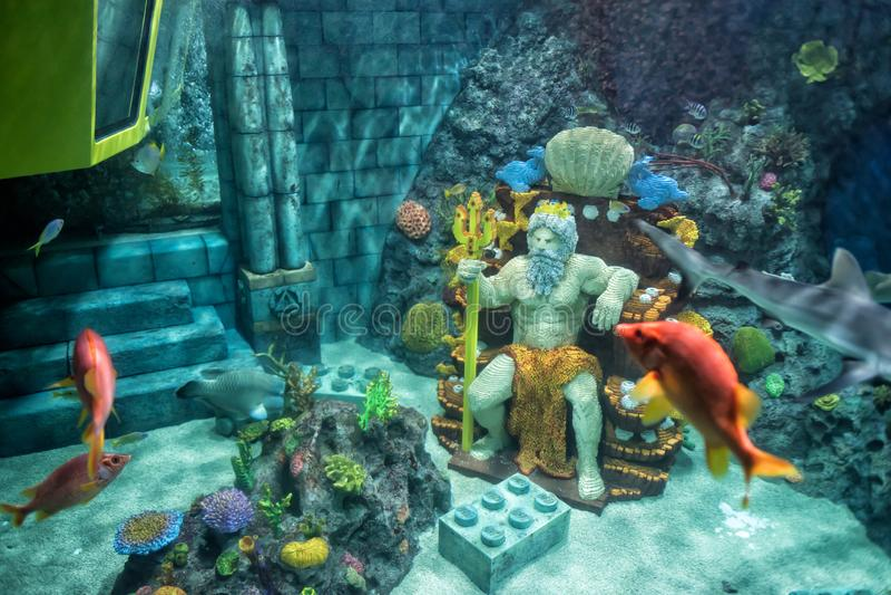 Peixes do ANG de Poseidon no submarino de Legoland fotos de stock