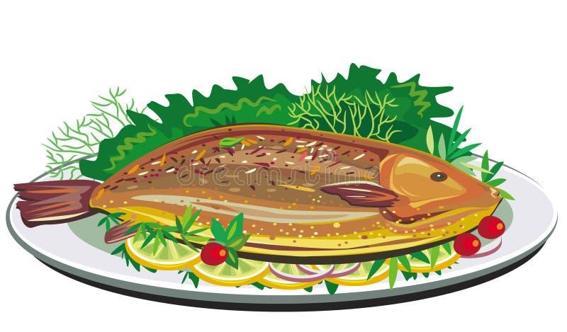 Peixes do assado na placa ilustração royalty free
