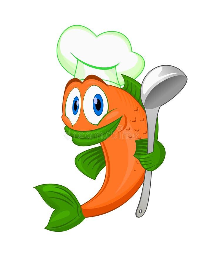 Peixes do cozinheiro dos desenhos animados ilustração royalty free